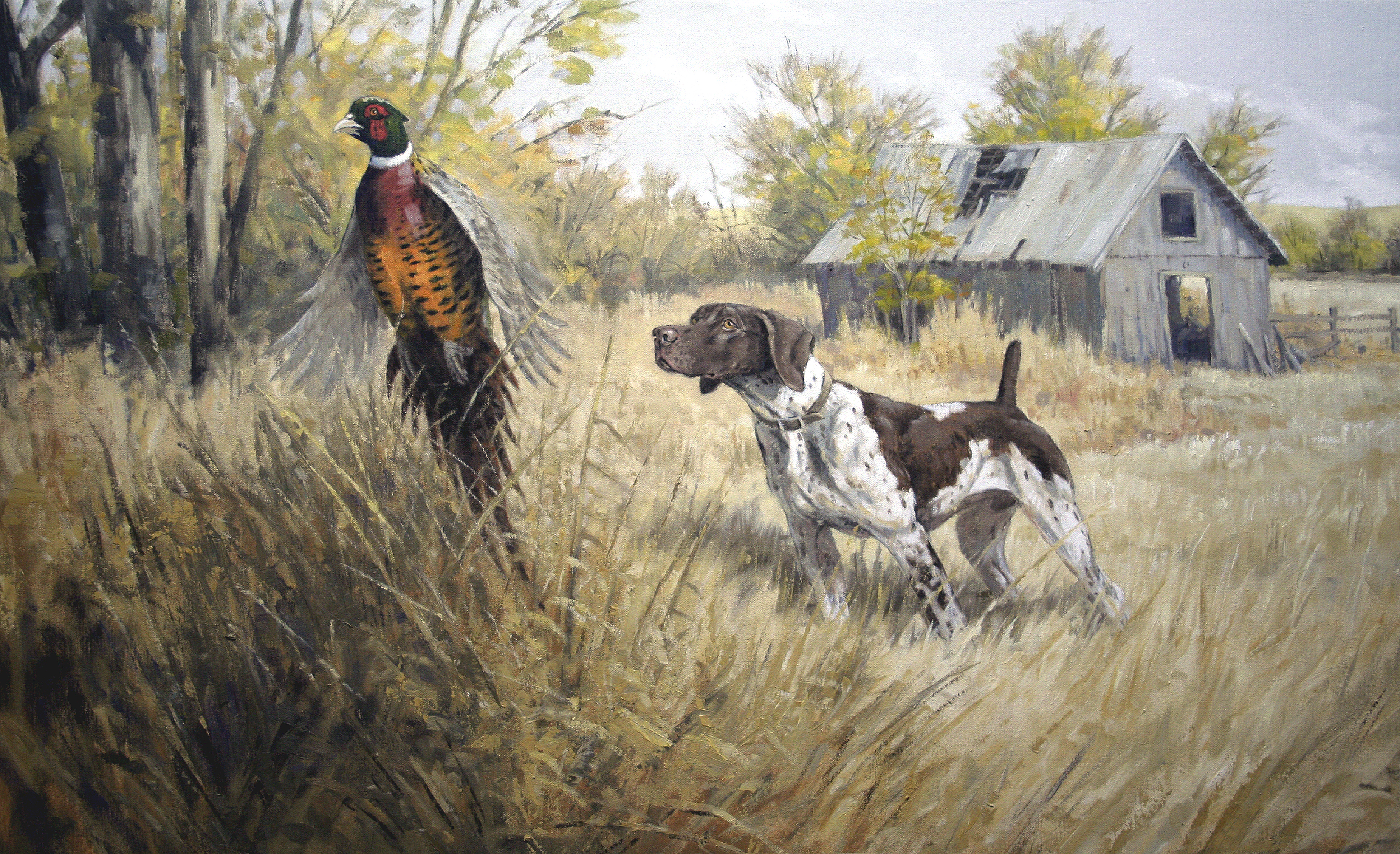 Grouse Hunting Painting